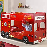 NOUVOMEUBLE Lit Double Rouge Camion de Pompier Fireman