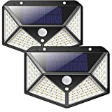Lampe Solaire Extérieur iPosible【Version Améliorée 2 Pack】100 LED 2200 mAh éclairage Extérieur étanche 270° lumière Solaire Détecteur de Mouvement 180 ° Spot Solaire Applique Solaire pour Jardin