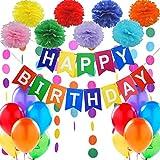 """Décorations Anniversaire - Banderole Bannière de Joyeux Anniversaire """"Happy Birthday"""" + Set de 8 Pompon Fleur + 2 Guirlandes Arc en Ciel de 3 mètres + 12 Ballons Nacrés Perle Latex 30 cm"""