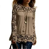 MORCHAN Chemise à Manches Longues pour Femmes Fashion Casual Blouse en Dentelle Tops en Coton lâche T-Shirt(FR-44/CN-XXXL,Khaki)