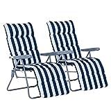 Outsunny Lot de 2 Chaise Longue Bain de Soleil Adjustable Pliable transat lit de Jardin en Acier Bleu + Blanc