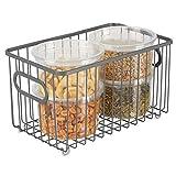 mDesign panier de rangement en métal – boîte en métal flexible pour la cuisine, le garde-manger, etc. – panier en métal compact multi-usage avec poignées – gris