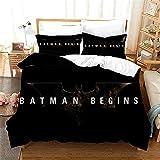 Housse De Couette 160 X 200 Cm Batman Super Heros pour Enfant Et Adulte Microfibre Douce Confortable Parure De Lit 1 Personne Parure De Lit 160X200 Adulte avec Taie d'oreiller