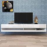 Desk Chairs Stand de télévision Moderne de 80'pour Salon Chambre à Coucher, Console de Support Murale avec 20 LED de Couleur, Blanc, avec étagères de Rangement (Color : White)