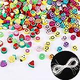 300Pcs Mini Perles Acrylique Forme Ronde Perles Beads Fruits Sourire Plastique Breloque Accessoire pour DIY Création Collier Bracelet Fabrication de Bijoux Artisanat (A)