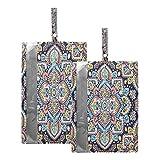 F17 Lot de 2 sacs à chaussures de voyage pour homme et femme Motif cachemire indien floral ethnique mandala