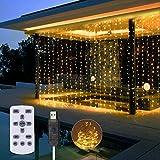 3Mx3M Rideau Lumineux, SOLMORE Guirlande Lumineuse 300 LEDs avec Télécommande, Timer Fonction, 8 Modes Dimmable, Fairy Lights Alimenté par USB pour Mariage, Chambre, Fenêtre, Jardin(Blanche Chaude)