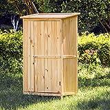 WilTec Armoire de Jardin Porte Simple Bois Rangement pour Outils Remise Abri Cabane Jardinage Équipement