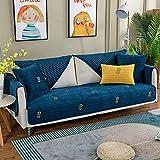Couch Couvre,Quatre Saisons Mode Anti-dérapant Housse Divan,Canapé Housses pour Canapé en Cuir,Coussin de canapé brodé matelassé en Velours-Bleu foncé_110×180cm