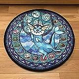 QKX,Tapis,Pokemon Animal Tapis de Sol Mignon Tapis de Bande dessinée Rond Doux Enfants Coussin antidérapant pour Salon Chambre Maison déco, Bleu Profond, 60 cm