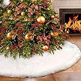Vlovelife Tapise de sapin de Noël en fausse fourrure 122cm Blanc, Fourrure synthétique, blanc, 120 cm