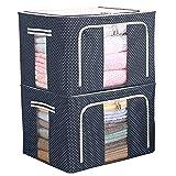 Eastjing Lot de 2 sacs de rangement pliables et rigides pour couettes, coussins, vêtements, tissu Oxford avec cadre en métal et 2 fenêtres ouvertes