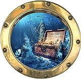 PPA DESIGN Sticker Trompe l'oeil Hublot Coffre au Trésor Pirate - SATOHU014 (30x30cm)