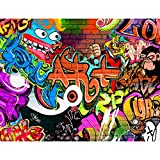 Papier peint intissé Mur de pierre Graffiti 352 x 250 cm - Tapisserie Decoration Murale XXL Poster - Salon Appartement Photo d'art - 9068011a