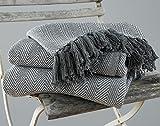 EHC Herringbone Large 100% Coton Jeté pour Couverture Canapé-Lit, 150 x 200 cm - Gris