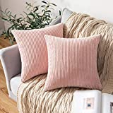 MIULEE Lot de 2 Decorative Housse de Coussin en Velours Côtelé Canapé Taie d'oreiller Douce pour Maison Salon Chambre Clic Clac 45x45cm Rose