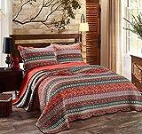 Alicemall Parures de lit 2 personnes-Courpointe pour lit 230x250cm-2 Taies d'oreiller 50x70cm-100% Coton (Motif de rayures)