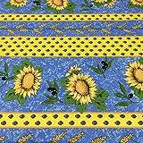 Tissu linge de lit imprimé - Mesure: 300 cm longueur x 270 cm largeur   Provençal. Tournesols et olives, bleu