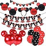 JOYMEMO Décorations d'anniversaire de Minnie Mouse Rouge Et Noir pour Filles, Bandeau d'oreille de Minnie, Bannière de Joyeux Anniversaire et Guirlande pour 1ère 2ème Fête d'anniversaire
