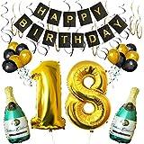 BELLE VOUS Lot de Décorations d'Anniversaire 18 Ans avec Ballons et Bannière Happy Birthday Bouteilles de Champagne Gonflables, Chiffre 18 Doré de 101,6cm et Ballons - Kit Déco Murale pour Les Fêtes