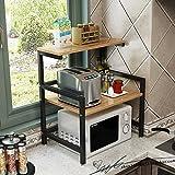 Dongyd Rangement de cuisine Rack à four à micro-ondes pour armoire de rangement, étagère de rangement à 2 niveaux, étagères pour cuiseur à riz, hauteur réglable, 60x41x67cm (Couleur : B)