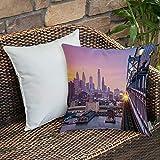 Housse de Coussin taies d'oreiller pour canapé-lit,décoratif,Philadelphie américaine sous un train de coucher de soleil brumeux sur,Motifs imprimés Décoration de la Maison Housse de Coussin 45 x 45 cm