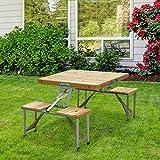 HOMCOM Table de Camping Jardin Pique-Nique Pliante en Bois avec 4 sieges