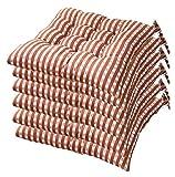 Rowe Lot de 6 coussins de chaise rembourrés pour chaise de cuisine, de jardin, de salle à manger avec sangles 40 x 40 cm pour chaise de bureau, support lombaire, coussin de dos (couleur : café)