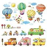 DECOWALL DA-1806P1406B Transports Animaux Montgolfières Autocollants Muraux Mural Stickers Chambre Enfants Bébé Garderie Salon