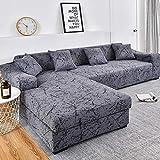 ASCV Housses de canapé en Forme de L pour Salon Housse de canapé élastique Housse de canapé Housse de canapé d'angle Extensible Chaise Longue A8 3 Places