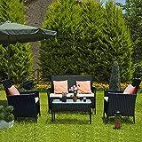 bigzzia Ensemble de meubles de jardin en rotin, 4 pièces, canapé en rotin, comprenant 2 fauteuils, 1 canapé double et 1 table.