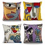Topfinel Lot de 4 Housse Coussin Picasso 45x45cm Vintage Brodé Motif Abstrait en Coton-Lin Housses de Coussins Decoratifs pour Canapes Moderne Chambre Bureau Voiture