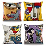 Topfinel Lot de 4 Housse Coussin Picasso 45x45cm Vintage Broderie Motif Abstrait en Coton-Lin Housses de Coussins Decoratifs pour Canapes Moderne Chambre Bureau Voiture