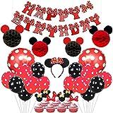 Kreatwow Mickey et Minnie Party Supplies Rouge et Noir Oreilles Bandeau Joyeux Anniversaire bannière à Pois Ballons Ensemble pour décorations de fête sur Le thème de Minnie
