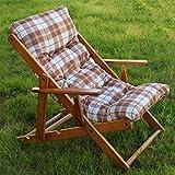 Maslegno Fauteuil / chaise longue.avec coussin rembourré, transats en bois pliable réglable en 3positions, 100cm de hauteur, pour intérieur ou extérieur marron