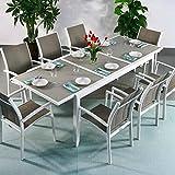 Lazy Susan Table Aluminium et Verre Florence et 8 Chaises Georgia - Blanc & Champagne   Table à Manger Extensible en métal de 240cm