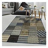 Tapis Design et Moderne Rectangulaire BC GEOTREM Bleu Salon adapté au Chauffage par Le Sol