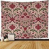 Tapisserie Murale Grenat Oriental Rose Ligne Florale Motif Rosette Européenne Bourgogne Filigrane Design Asiatique Narcisse Tapisserie Tenture Murale Plage Tapisserie pour La Décoration Intérieure