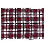 Grand coussin de colza 40 x 30 cm, 6 compartiments, flanelle rouge à carreaux – Coussin chauffant coussin de graines comme coussin de dos – Coussin de colza 30 x 40, flanelle rouge à carreaux