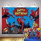 NSY Toile de fond Spiderman pour photographie de bébé garçon Happy Birthday Party Supplies Vinyle Super Hero Photo Fond Super City Baby Shower Décoration de table (2,1 x 1,5 m)