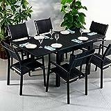 Lazy Susan Table Chloe et 6 chaises Milly - Noir | Table Extensible 180cm pour l'intérieur et l'extérieur