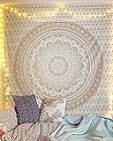 raajsee Blanc Doré Mandala Ombre Tentures Murales Indiennes/Doré Tapisserie Mandala Hippie/Psychedelique Bohemian Rideaux Orientale Decorations/Golden Tapestry Couvre lit Twin 140x210cms 52x82 inch