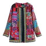 WOZOW Veste en Coton à Manches Longues Grande Taille Ethnique Vintage pour Femme Kimono Gilet Blazer Manteau Hiver T-Shirt Capuche Taille(Rose Vif,4XL)