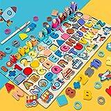 Jouet Montessori en Bois pour Enfants - Set Casse-tête | Puzzle Chiffres & Alphabet | Tableau d'Empilage Éducatif : Jeu-Pêche|Mathématiques|Tri Forme & Couleur-Cadeau Garçons & Filles