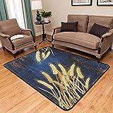 PANGLDT Tapis Chic Noble Moderne Design -Tapis Rectangle Motif Blé Doré- Salon Chambre Maison Tapis Coussin de Chaise d'ordinateur-150X200cm
