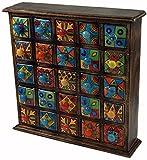 Guru-Shop Pharmacie Avec Tiroirs Colorés Keramink - 5x5 Compartiments, Marron, 40x38x10 cm, Boîtes, Coffrets Cercueils
