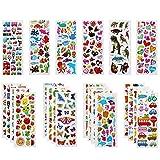 Vicloon 22 Feuilles Autocollants 3D pour Enfants Stickers 500+Pack,3D en Relief, Autocollants de Variétés pour Récompenser Scrapbooking, y Compris Animaux, Dinosaures, Numéros,etc