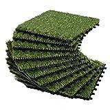 Outsunny Gazon synthétique Artificiel Set de 10 Dalles Carreaux 30 x 30 cm épaisseur Confort 3,5 cm à emboîter Vert