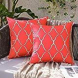 MIULEE Lot de 2 Housses de Coussins Style Marocaine Motif Blanc Taie d'oreiller Décoratives Tissu Polyester Durable Imperméable à Salon Chambre Canapé 45x45CM Rouge