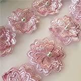 WQG 39.3in Organza Perles Dentelle, Manteau et Chapeau Accessoires Applique Tissu de Dentelle, Tissu Rideau Matériaux d'artisanat adaptés aux Tissus à Domicile (Color : Pink*2)